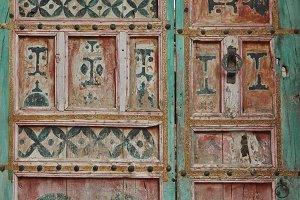 Colored berber wooden door