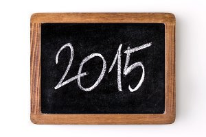 Year 2015 written on a slate