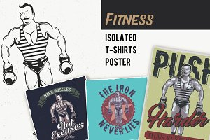 Fitness T-shirts And Poster Labels