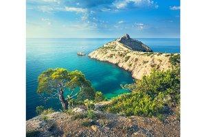 Summer landscape in mountains on seashore