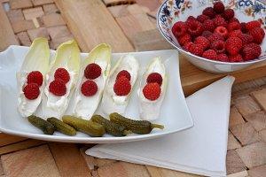 Pickles, raspberries and endives