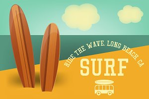 Surfing Retro Poster