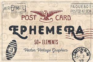 52 Vintage Postcard Vectors