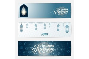 Vector illustration of horizontal ramadan kareem blue greeting banner set