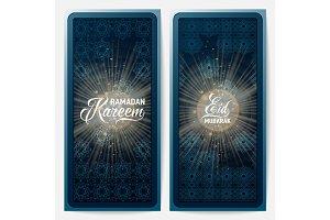 Vector illustration of ramadan kareem, eid mubarak blue greeting invitation