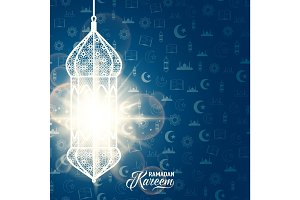 Vector illustration of ramadan kareem blue color greeting invitation template