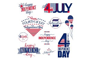 Happy Independence Day United States overlay . Fourth of July - July4th banner, label or poster. Vector Set