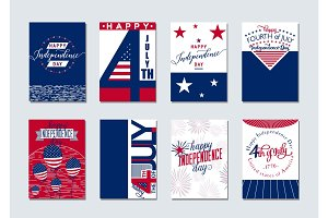 Vector illustration of happy USA Independence day felicitation background set with typography, lettering element, balloon, fireworks, flag in simple vintage style. Invitation 4th july