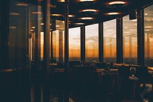 Luxury restaurant interior on sunset