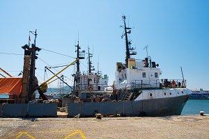 Fishing vessel at pier in Sozopol