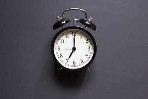 Black retro alarm clock