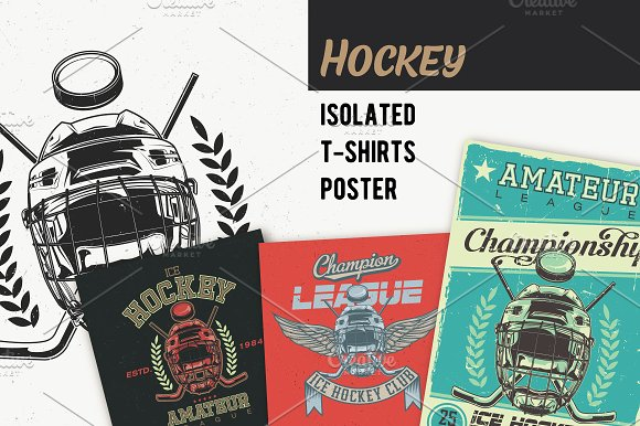 Hockey T-shirts And Poster Labels