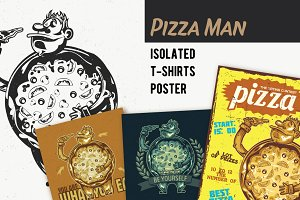 Pizza Man T-shirts And Poster Labels