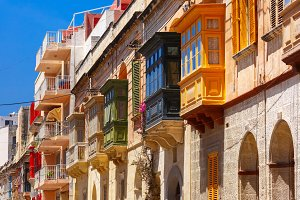 Traditional colorful wooden balconies, Malta