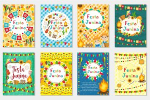 Festa Junina set greeting card, invitation, poster. Brazilian Latin American festival template for your design.Vector illustration.