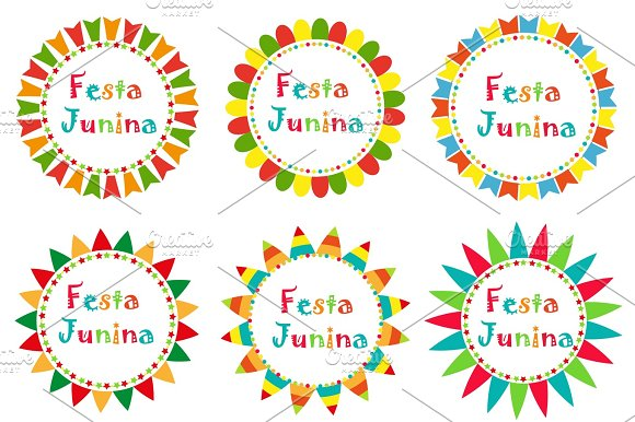 Festa Junina Set Frame With Space For Text Brazilian Latin American Festival Blank Template For Your Design Isolated On White Background Vector Illustration