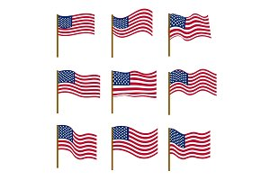 Set of flags of United States of America isolated on white background. Independence Day, July 4, concept. Vector illustration.