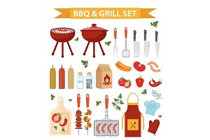 Barbecue and grill icons set, flat or cartoon style. BBQ collection of objects, elements of design. Isolated on white background. Vector illustration.