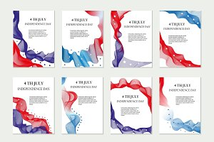 Independence Day of America template set for brochures, postcard, flyer, poster. July 4 is the national holiday USA with colored waves and stars. Vector illustration.