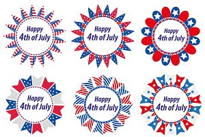 Independence Day America, USA. Set of round frames with flags. Collection of decorative elements with space for text for July 4th. Vector illustration, clip art.