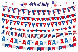 American Independence Day, celebration in USA, set bunting, flags, garland. Collection of decorative elements for July 4th national holiday. Vector illustration, clip art.