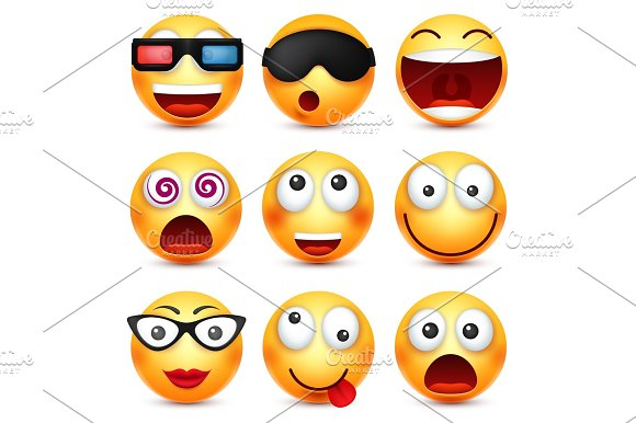 Smiley With Glasses Smiling Angry Sad Happy Emoticon Yellow Face With Emotions Facial Expression 3D Realistic Emoji Funny Cartoon Character.Mood Web Icon Vector Illustration