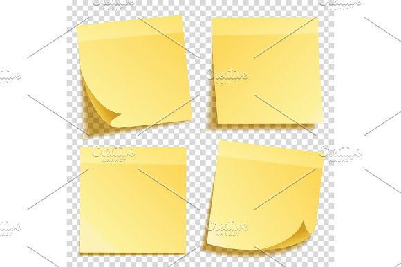 Sticky Note With Shadow Isolated On Transparent Background Set Yellow Paper Message On Notepaper.Reminder Vector Illustration
