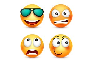 Smiley with glasses,smiling emoticon. Yellow face with emotions. Facial expression. 3d realistic emoji. Funny cartoon character.Mood. Web icon. Vector illustration.