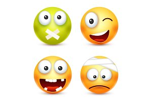 Smiley,smiling angry,sad,happy emoticon. Yellow face with emotions. Facial expression. 3d realistic emoji. Funny cartoon character.Mood. Web icon. Vector illustration.