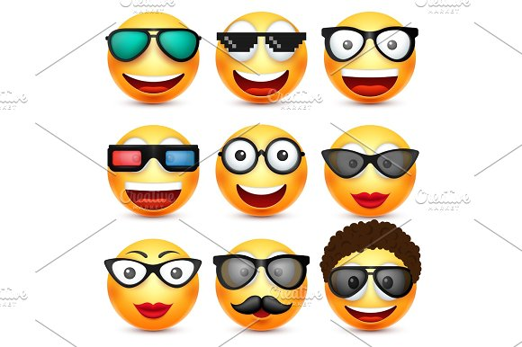 Smiley With Glasses Smiling Emoticon Yellow Face With Emotions Facial Expression 3D Realistic Emoji Funny Cartoon Character.Mood Web Icon Vector Illustration