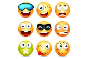 Smiley with glasses,smiling,angry,sad,happy emoticon. Yellow face with emotions. Facial expression. 3d realistic emoji. Funny cartoon character.Mood. Web icon. Vector illustration.