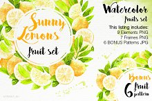 Watercolor Lemons Set illustrations.