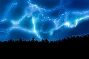 Lightning strike on sky