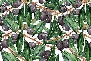 Olive oliva branch seamless pattern