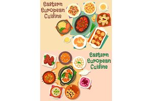 Eastern-european cuisine meat lunch icon set