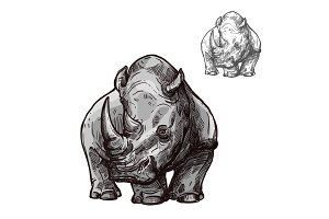 Rhino animal isolated sketch of african rhinoceros