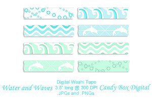 Water 'n' Waves Digital Washi Tape