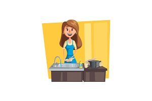 Washing dishes cartoon icon with woman housewife