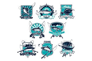 Fishing sport badge set design with fish and rod