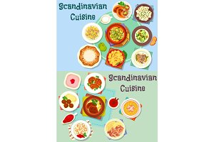 Scandinavian cuisine icon set with fish and meat