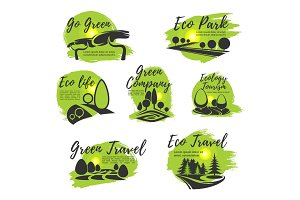 Eco green isolated icon set for ecology design