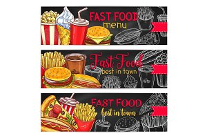 Fast food restaurant menu chalkboard banner set