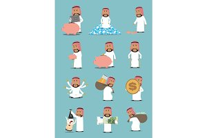 Arab businessman with money cartoon character set