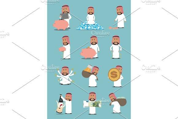 Arab Businessman With Money Cartoon Character Set