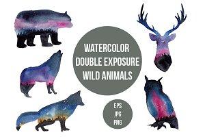 Watercolor galaxy animals