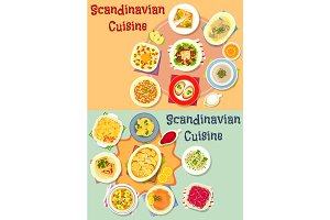 Scandinavian cuisine dinner dishes icon set