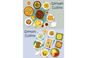 German cuisine lunch icon set with meat dishes