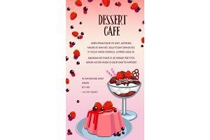 Cake and ice cream poster for dessert cafe design