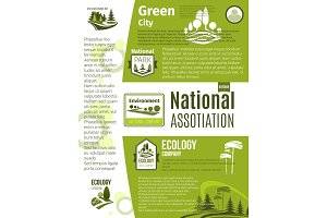 Green city, eco business, ecology poster template