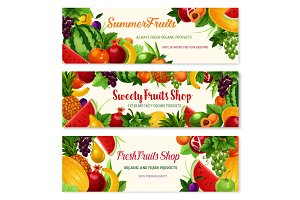 Fresh fruit cartoon banner for food, drink design